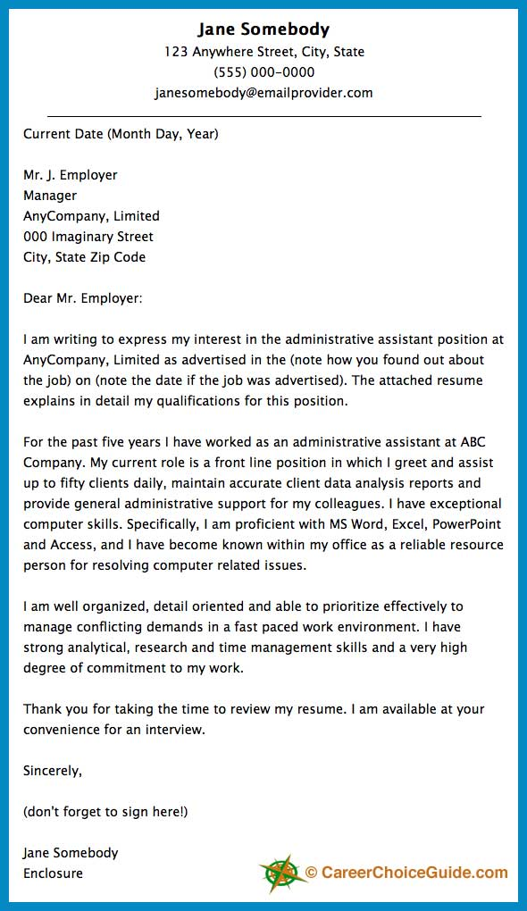 Cover letter sample for Covering letter example for administrative position