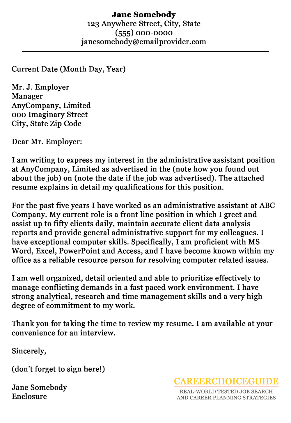 cover letter sample for an administrative assistant - Cover Letter Page