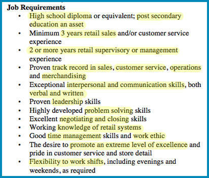 High Quality Sample Retail Manager Job Ad Intended Job Qualifications List