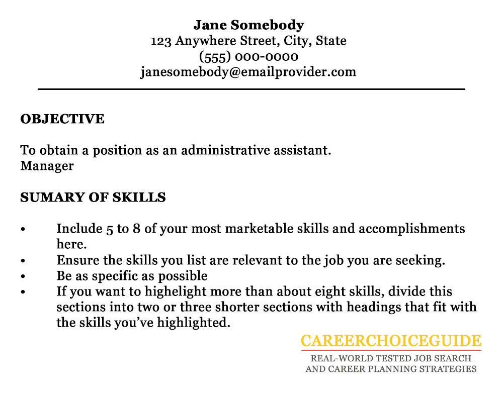 cover letter sample - Resume Skills For Administrative Assistant Position