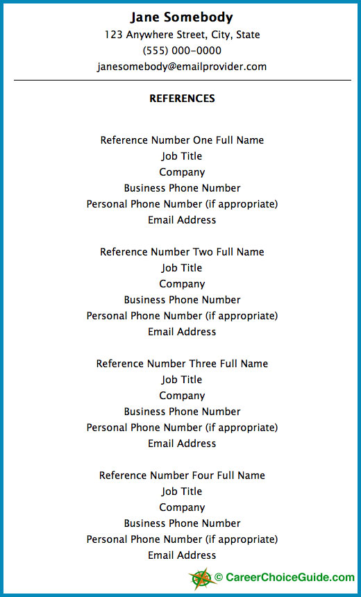 Sample Resume Reference Page  Business Reference List