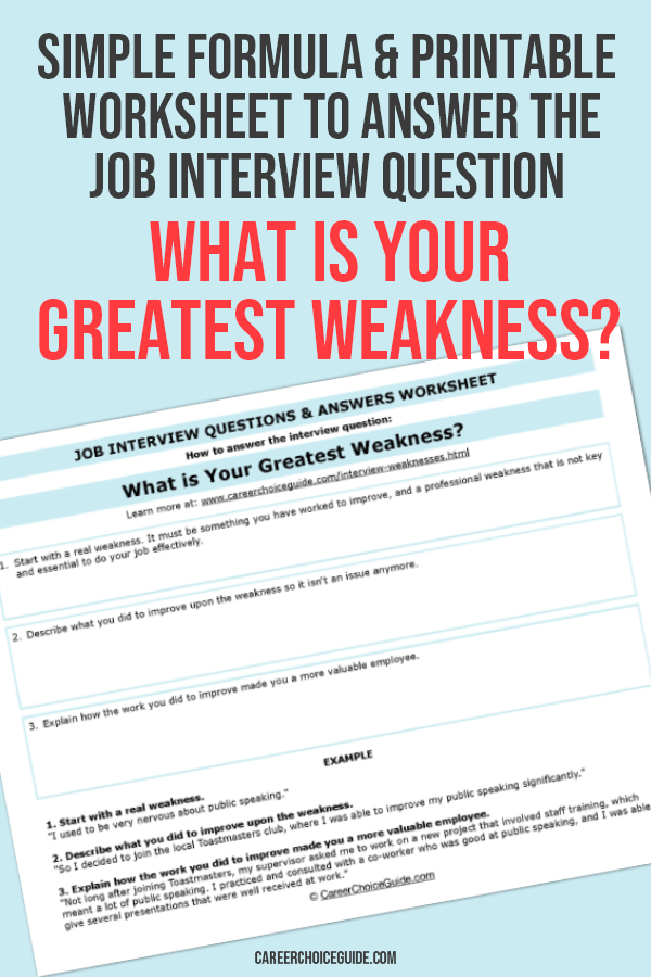 Worksheet to answer the interview question what is your greatest weakness.