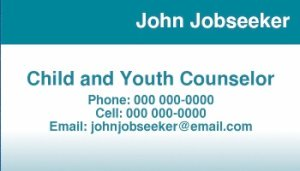 Sample Business Card for Job Searching