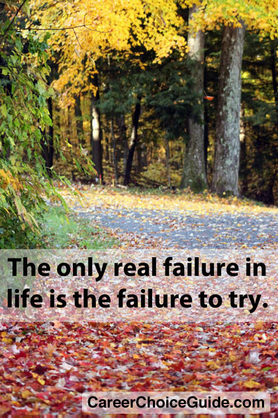 The only real failure in life is failure to try