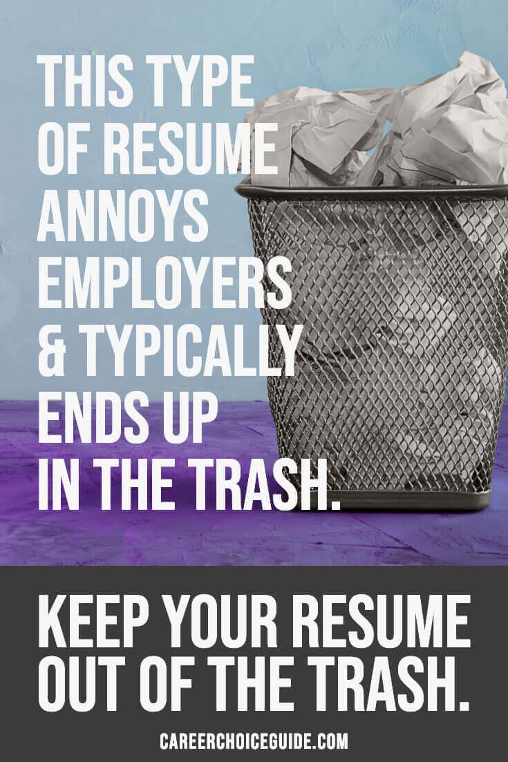 Trashcan full of crumpled paper - Text overlay - This type of resume annoys employers and typically ends up in the trash. Keep your resume out of the trash.