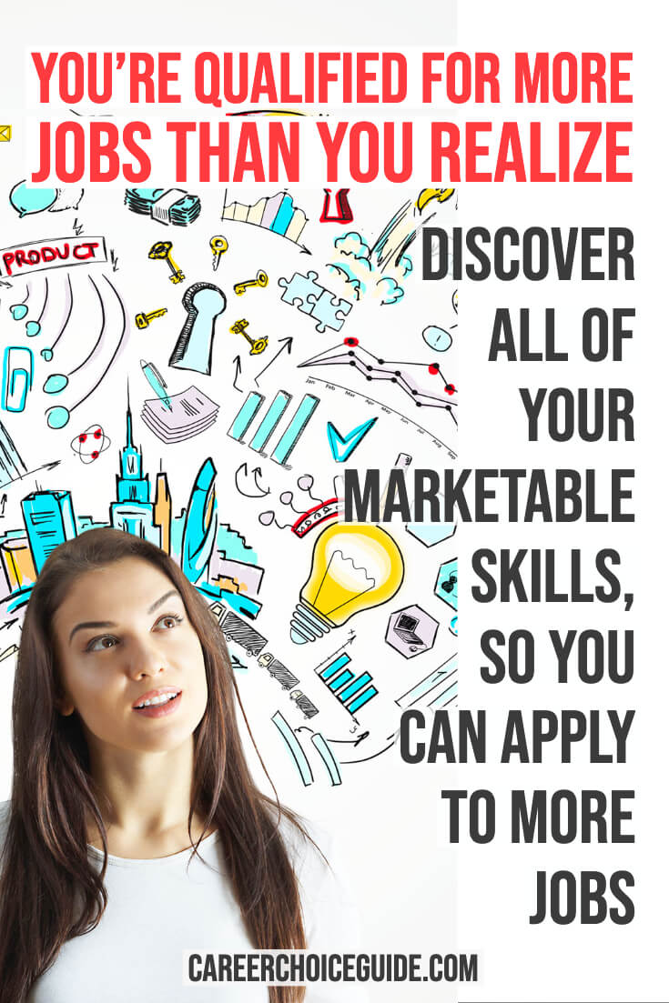Woman with cartoon images of her creative skills. Text overlay - You're qualified for more jobs than you realize. Discover all of your marketable skills, so you can apply to more jobs.