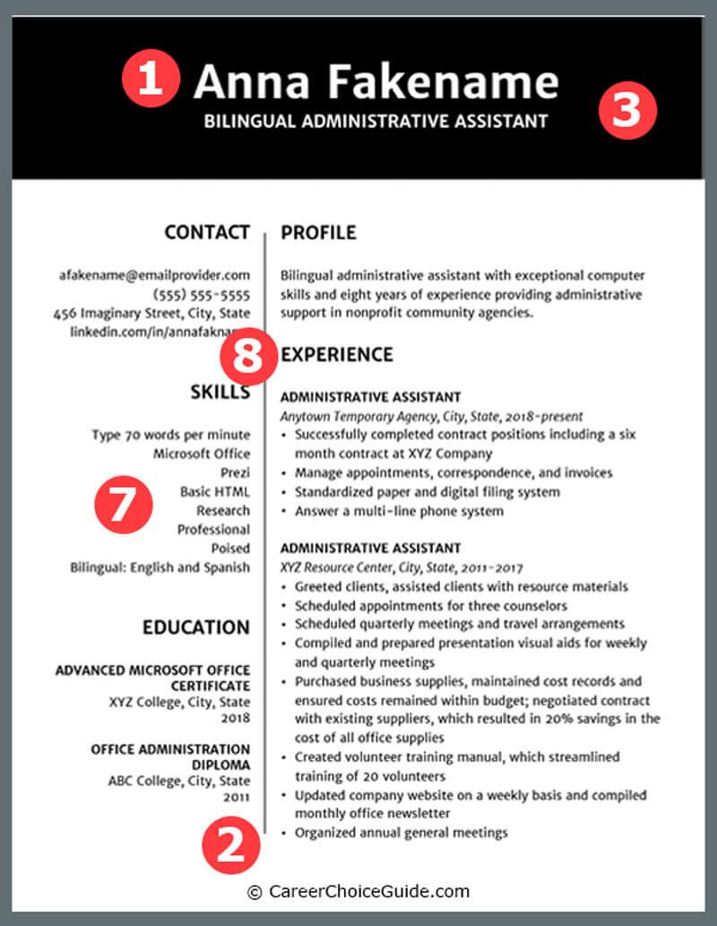 Sample creative resume using two column design.