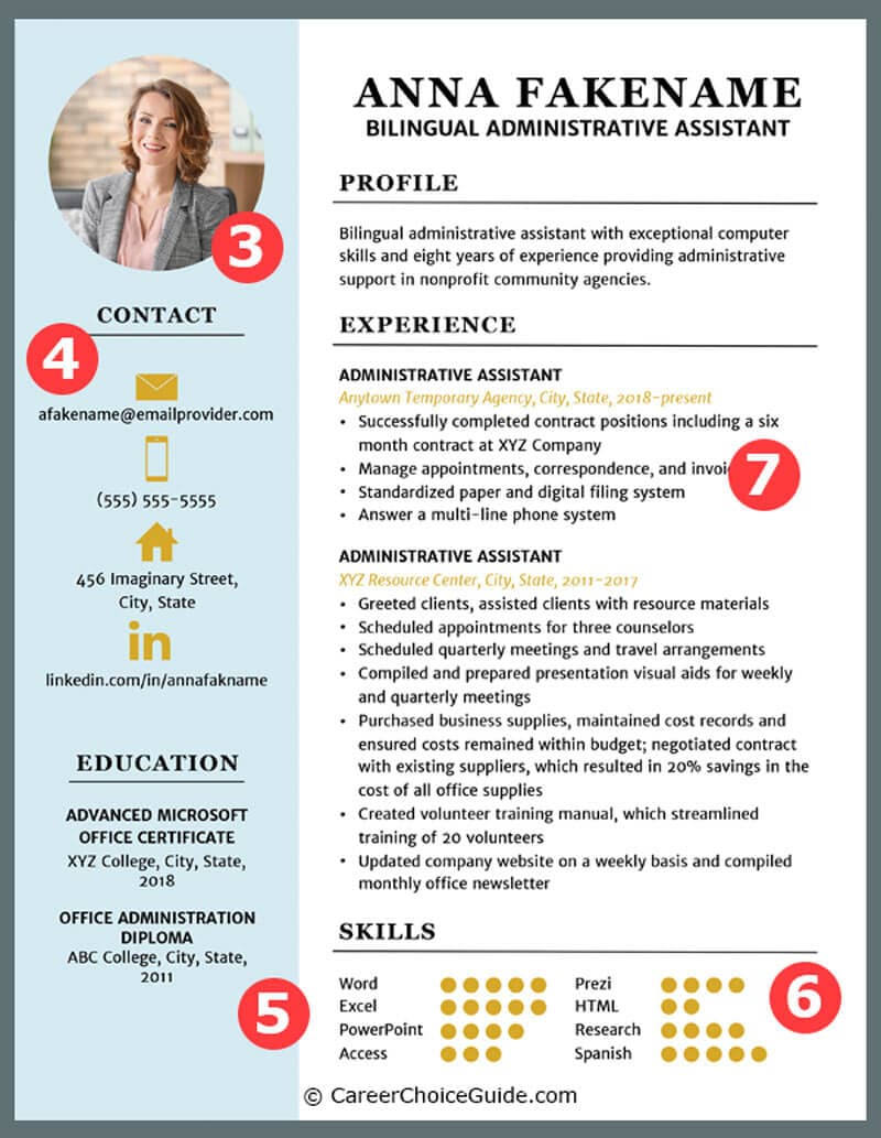 Two column, colorful, creative resume template with job seeker's photo and icons.