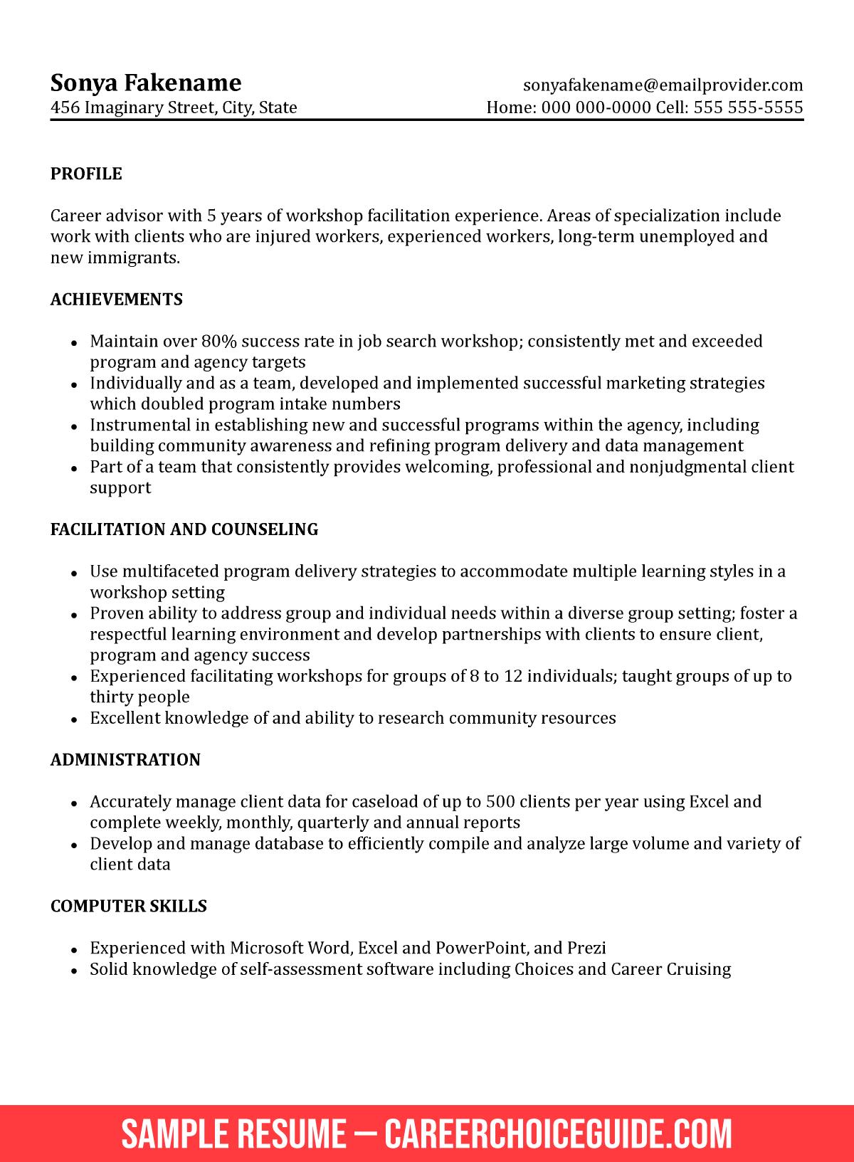 career advisor objective resume