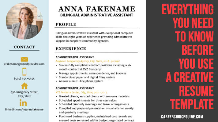 Two column, colorful, creative resume template with text overlay - Everything you need to know before you use a creative resume template.