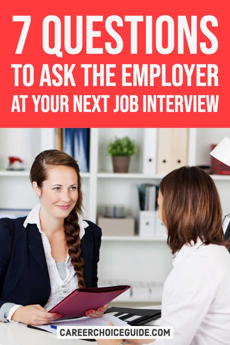 Manager interviewing a job seeker. Text overlay - 7 questions to ask the employer at your next job interview.