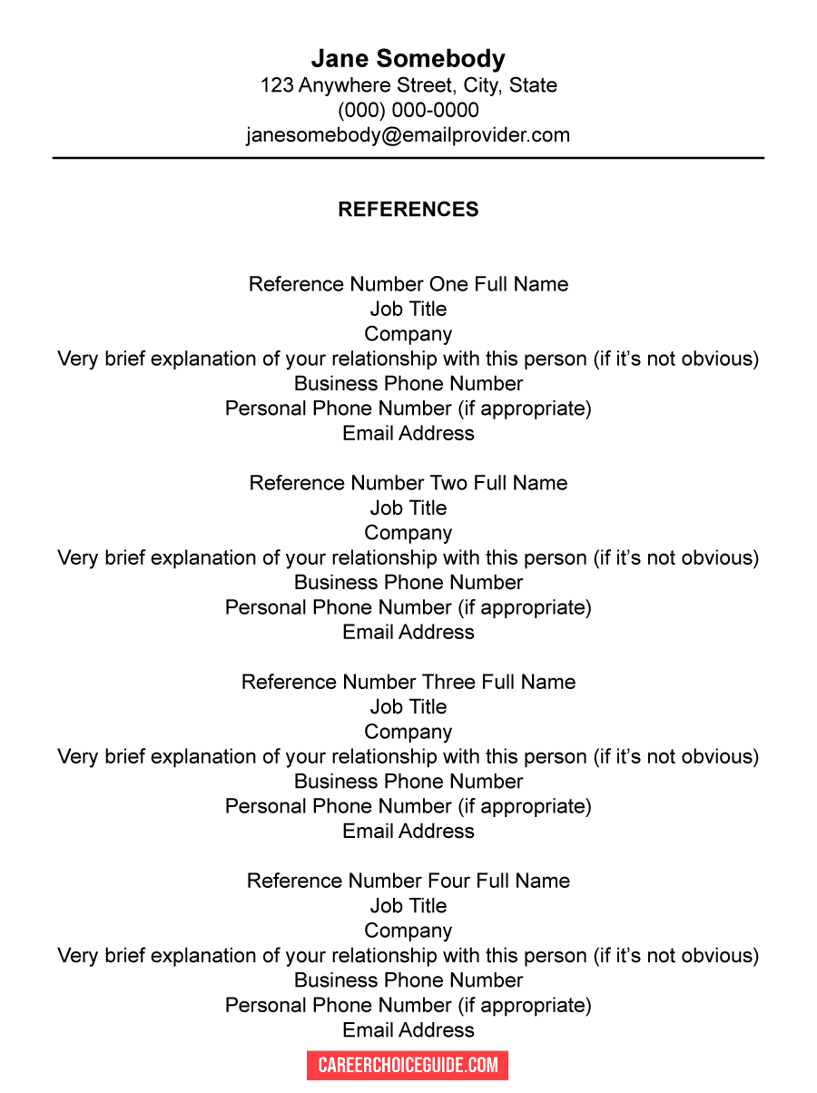 Resume Reference Page Setup Tips Template