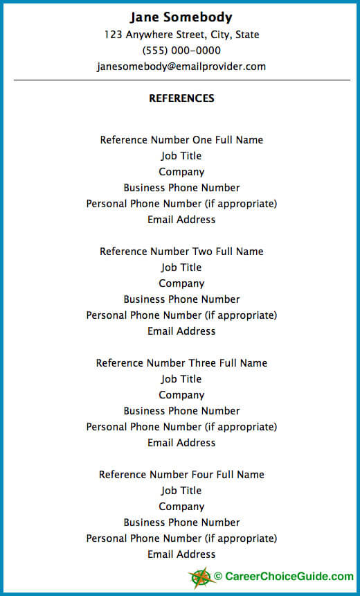 sample resume reference page - Resume Reference