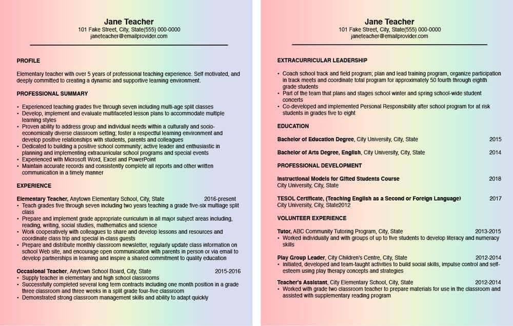Two page resume for a new teacher on rainbow colored paper.