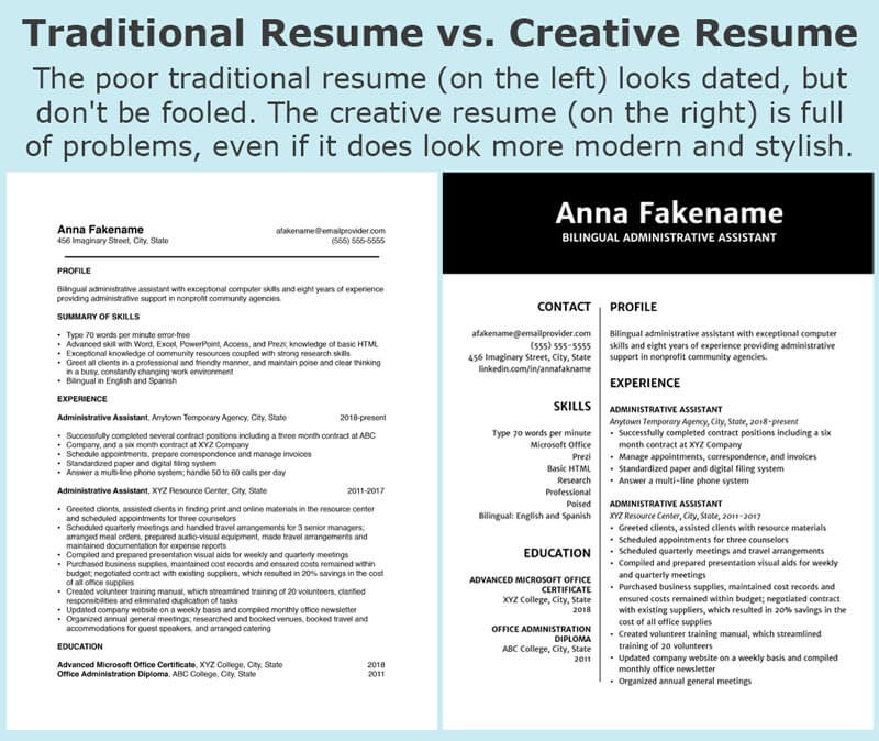 Traditionally formatted resume beside a two column, creative resume using the same content. Text overlay - Traditional Resume vs. Creative Resume