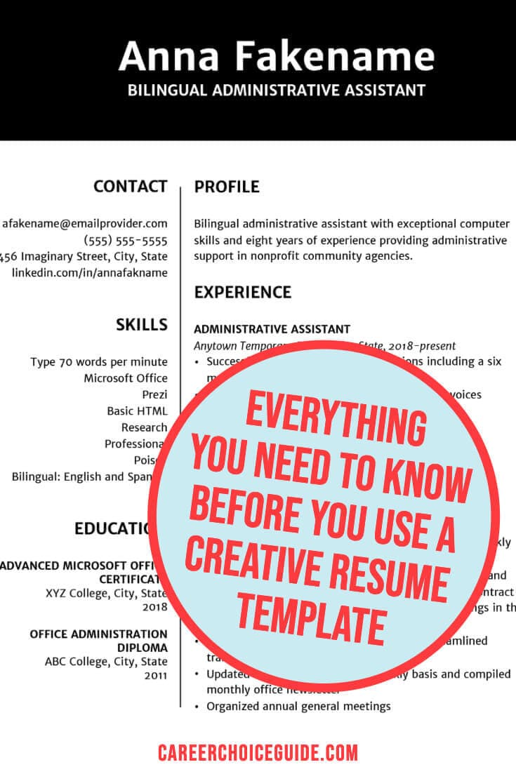 Sample creative resume using two column design. Text overlay - Everything you need to know before you use a creative resume template.