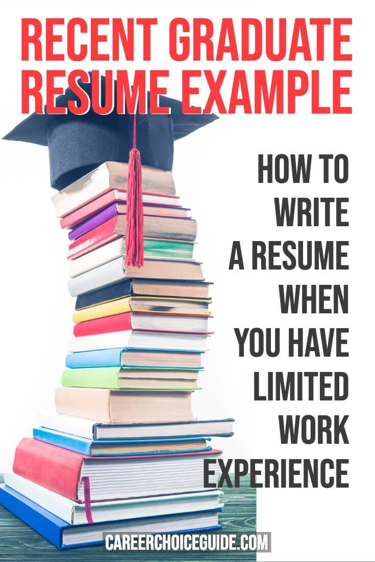 Stack of textbooks with graduate mortar on top. Text overlay - Recent Graduate Resume Example. How to write a resume when you have limited work experience.